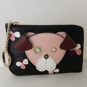 KATE SPADE Floral Pup Medium L-Zip Card/Key Holder